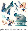 cartoon astronomy set. Astronomical telescopes - radio, orbital 45871385