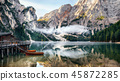 Panoramic view of Braies Lake in Dolomites, Italy 45872285