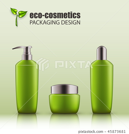 Set of realistic green glass bottles eco cosvetic 45873681