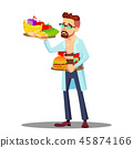 Nutritionist With Fruits And Hamburgers In Hands, Healthy And Unhealthy Food Vector. Isolated 45874166