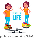 Fat And Slim Girl On The Scales With Healthy And Unhealthy Food Vector. Isolated Cartoon 45874169