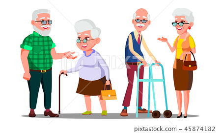 Old People Man, Woman Standing, Walking With Stick Vector. Senior Cartoon Person Set Vector 45874182
