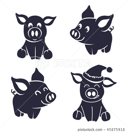 pigs silhouette little 45875918