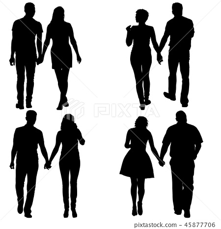 set couples man and woman silhouettes on a white stock illustration 45877706 pixta set couples man and woman silhouettes
