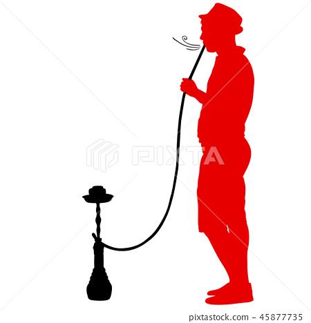 Silhouette of a man smoking a hookah standing  45877735