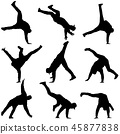 Black set Silhouettes breakdancer on a white  45877838