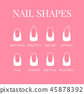 Set of nail shapes for professional manicure 45878392