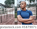 Young african man at the open air gym is resting after doing exercises 45879071
