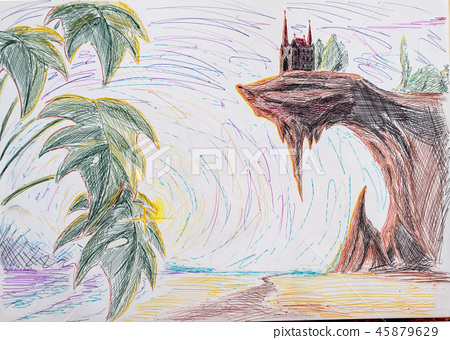 Landscape drawing ballpoint pens. Seashore and palm trees, the palace on the edge of the cliff 45879629