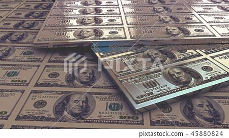 Dollar bills. 3D render 45880824
