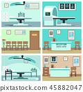 Empty hospital, doctor office, surgery room, clinic vector interiors set 45882047