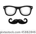 Realistic vector glasses and mustache in black white 45882846