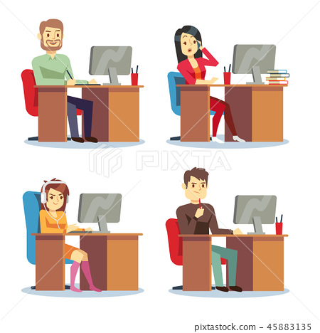 Different people characters women and men working in the office vector set 45883135
