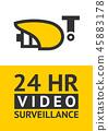 Notice Video cctv symbol sticker for print. 45883178