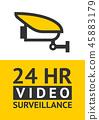 Notice Video cctv symbol sticker for print. 45883179