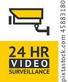 Notice Video cctv symbol sticker for print. 45883180