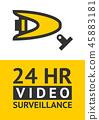 Notice Video cctv symbol sticker for print. 45883181