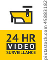 Notice Video cctv symbol sticker for print. 45883182