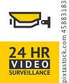 Notice Video cctv symbol sticker for print. 45883183