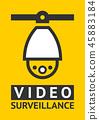 Notice Video cctv symbol sticker for print. 45883184