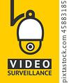 Notice Video cctv symbol sticker for print. 45883185