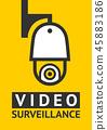 Notice Video cctv symbol sticker for print. 45883186