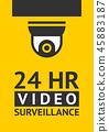 Notice Video cctv symbol sticker for print. 45883187