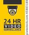 Notice Video cctv symbol sticker for print. 45883189