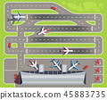 Airport with passenger terminal, airplanes, helicopters top view vector illustration 45883735