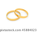 Gold wedding rings on a white background. 45884023
