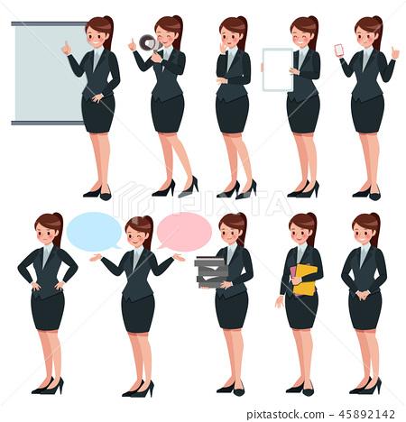 Cartoon business women set 45892142
