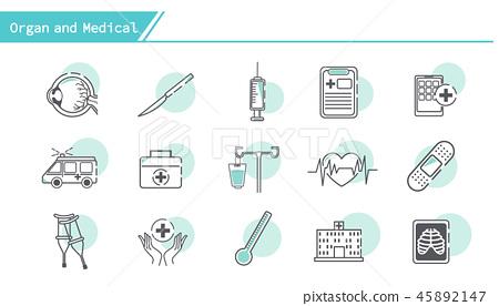 Organ and medical icon set 45892147