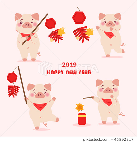 cartoon pig with 2019 45892217
