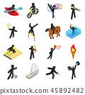 Summer sports isometric 3d icons set 45892482