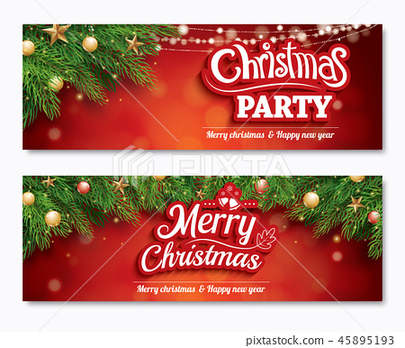 Merry christmas invitation party banner card - Stock Illustration ...