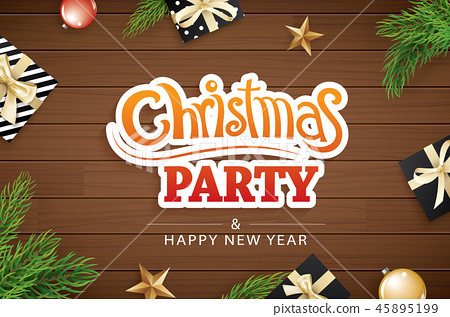 Merry christmas invitation party and greeting card 45895199