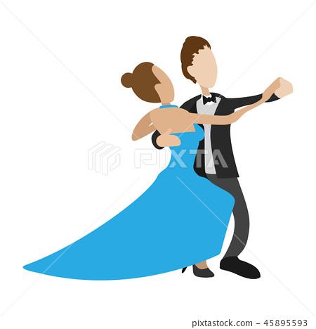 Couple dancing the waltz cartoon 45895593
