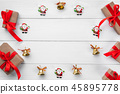 Christmas winter wreath, round frame . Christmas 45895778
