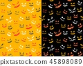 Spooky halloween ghost face, seamless pattern 45898089