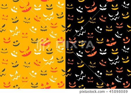 Spooky halloween ghost face, seamless pattern 45898089