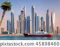 Dubai with ship against skyscrapers in UAE 45898460
