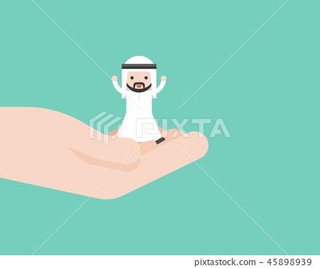 Happy Cute arab business man in god hand 45898939