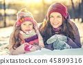 mother, girl, snow 45899316