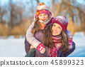 winter, mother, snow 45899323