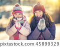 winter, mother, girl 45899329