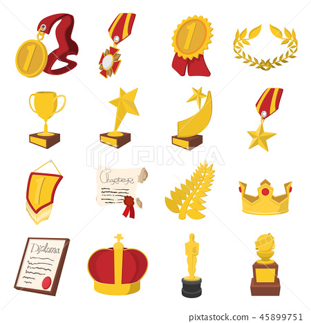 Trophy and awards cartoon icons set 45899751