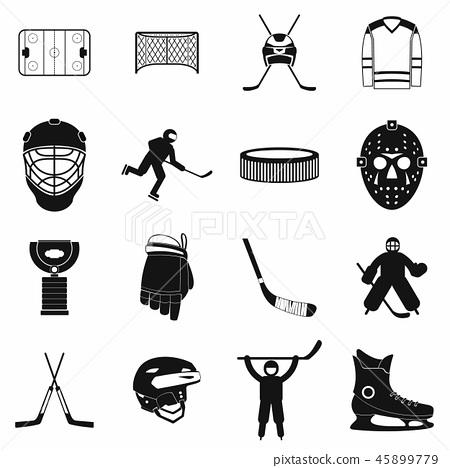Hockey black simple icons set 45899779