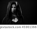 Black and white portrait of gorgeous girl wearing hood on. 45901366