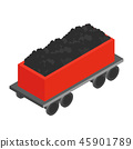 Wagon with coal 3d isometric icon 45901789