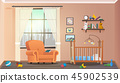 Vector Illustration Concept Children Room Interior 45902539